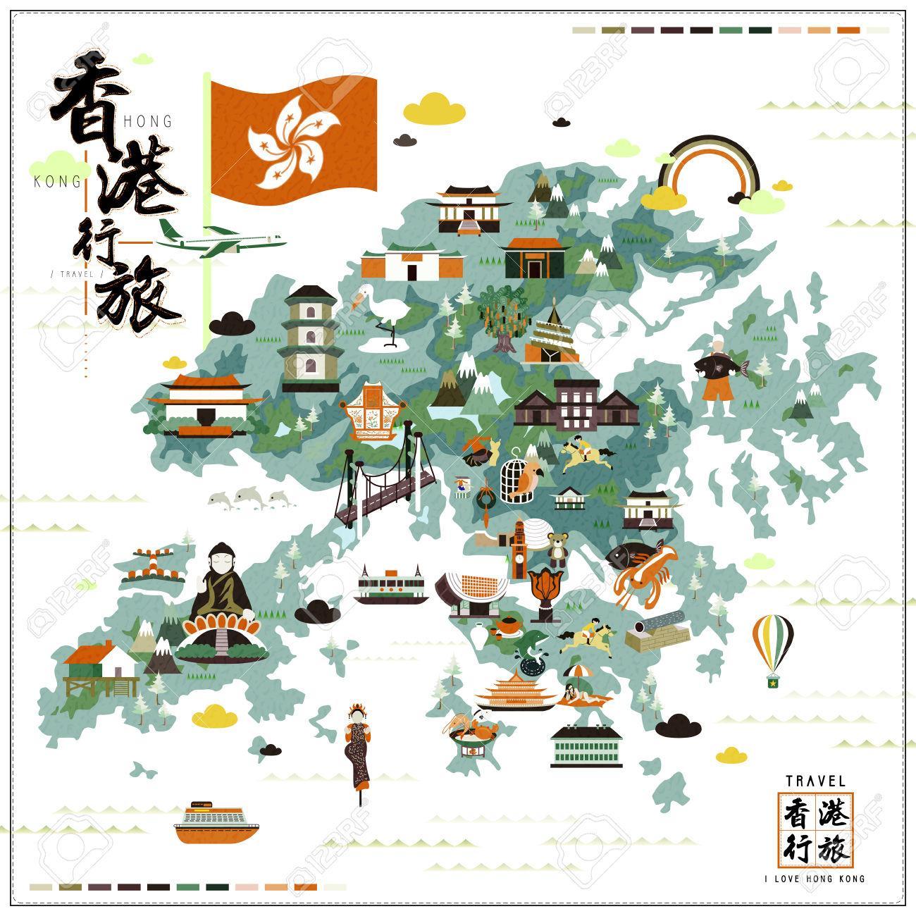 Hong Kong attractions map Hong Kong tourist attractions map China